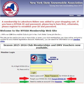 Screen Shot of NYSSA Login Page